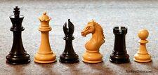 "GENUINE EBONY DERBY KNIGHT CHESS MEN - LARGE LUXURY HORSE SET K=4"" (711)"