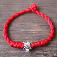 Feng Shui Red String Lucky Tibetan Silver Tortoise Charm Bracelet for Wealth ♫