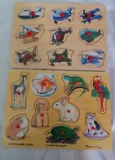 Melissa and Doug 2 Wood Puzzles Picture Under Pieces Animals and Planes.