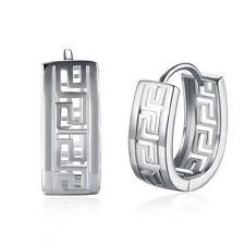 Greek Filigree Huggie Earrings 18K White Gold Plated