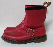 Dr. Martens Meg Boots Red Burnished Servo Lux #14798601 EUR 41 L9 M8 Biker