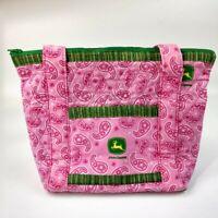 John Deere Pink Paisley Handmade Ladies Zip Fabric Purse Bag Tote Pocketbook