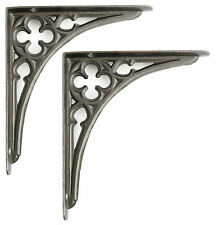 "Pair 8"" 20cm Small Cast Iron Victorian Gothic Wall Shelf Brackets antique period"