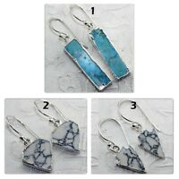 Sky Blue Turquoise White Howlite Silver Plated Earring Dangle Fashion Jewelry