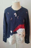 Tiara International 2004 Santa Christmas Sweater Sz S (M?) Sequins Beads & More