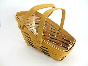 Longaberger Slanted Basket 1997 Double Handled with Plastic Liner
