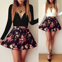 Sexy Women Low Cut V-neck Long Sleeve Floral Mini Short Dress Party Casual Dress