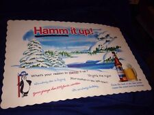 HAMM'S BEER UNUSED table plate place mat ADVERTISING SIGN pape new old stock nos