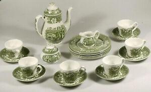 PRL) SERVIZIO Tè CAFFè COACHING TAVERNS 1828 ROYAL TUDOR WARE SET 21 TEA ENGLAND