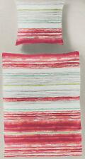 Bierbaum Bettwäsche Streifen rosa /rot /weiß - himbeer - 135 x 200 cm - Renforcé