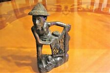 Asian Oriental Wooden Carving Old Man Fisherman Setting Out A Net