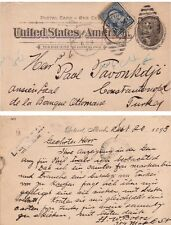 Postal Stationery Card from USA to Turkey, 1895