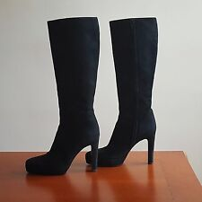 GUCCI Black Suede Italian High Heel Platform Boots With Zipper Size 37(US 7)