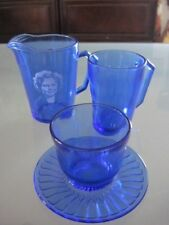 Vintage Shirley Temple Milk Pitcher, Cup & Small Bowl/Saucer Cobalt Blue