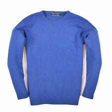 Woolovers señores suéter Sweater punto talla M 100% lana virgen azul 89155