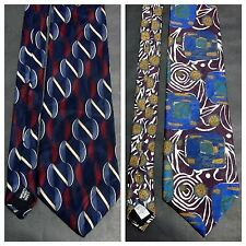 "OSCAR DE LA RENTA LOT OF (2) (58"" x 3.8"") 100% SILK NECKTIES MADE IN THE USA EUC"