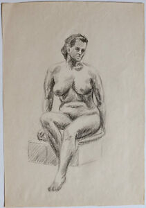 Group of (8) large original 1950s drawings NUDES