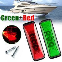 2x Oval Marine Boat Bow LED Navigation Lights Green/Red Stern Starboard Light