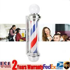 32''Barbershop Led Lamp Rotating Pole Light Portable Design Stripes Pole Ac110V
