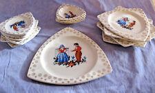 20 Pc Dish Set Tricorne Salem 22 Carat Gold Dutch Cross Stitch Pattern Art Deco