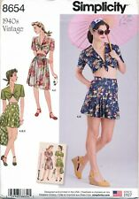 Simplicity Sewing Pattern 8654 Womens Vintage Skirt Shorts Top Size 4-12
