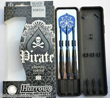 HARROWS PIRATE EBONITE COATED BLUE RINGED BRASS SOFT TIP DARTS 16g