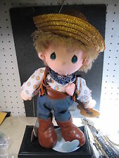 """Precious Moments 1985 Mickey Cowboy Doll With Guitar w/ Doll Stand 15"""""""