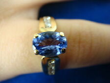 !CLASSIC 1 CARAT TANZANITE AND CHANNEL DIAMONDS LADIES RING 14K YELLOW GOLD