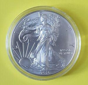 2016 Uncirculated 999 1oz Fine American Eagle Silver Bullion in CAPSULE.