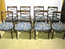 Set of 8 Vintage English-Made Regency Style Dining Chairs; Solid Mahogany