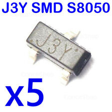 5 X TRANSISTOR J3Y S8050 NPN SMD SOT-23 MONTAJE SUPERFICIE COMPLEMENT. S8550 2TY
