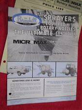 1981 BROYHILL MICROMAX ROTARY SPRAYER NOZZLE BROCHURE & PARTS LIST