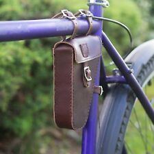 Frame Triangular Bag Handcrafted Natural Leather CHERRY BROWN Bike Bicycle Bag