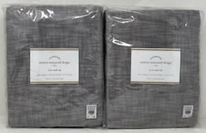"Pottery Barn Seaton Textured Drape Curtain (2) ~ 50"" x 84"" ~ Gray"