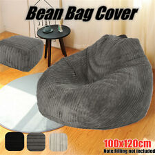 Adults Large Bean Bag Chairs Couch Corduroy Sofa Cover Lazy Lounger Protector