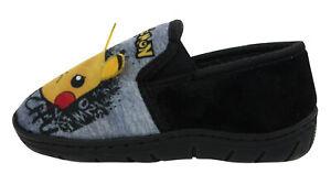 Pokemon Pikachu Boys Black Twin Gusset Slippers Comfort UK Sizes Child 8-2