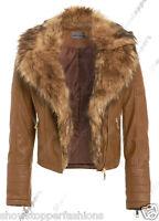NEW Faux Fur BIKER JACKET Womens Crop FAUX LEATHER Ladies ZIP Size 8 10 12 14 16