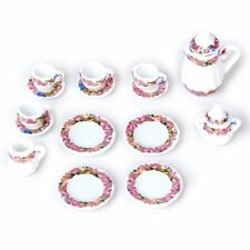 15 pcs Doll House Miniature Tea Set Colorful Floral Print AD