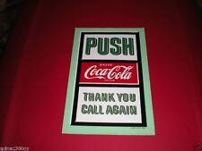 1950'S ENJOY COCA COLA COKE PUSH GLASS DOOR DECAL SIGN UNUSED