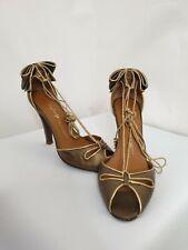 Miss Sixty Bronze Tie Bow Peep Toe Heeled Sandals Size UK 7
