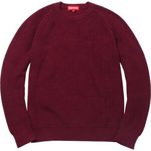 """SUPREME Ribbed Burgundy Maroon Embroidered """"S"""" on Chest Cotton Sweater Medium M"""