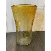 Vintage Amber Yellow West Lake Village Margies Gardens Blown Glass Vase