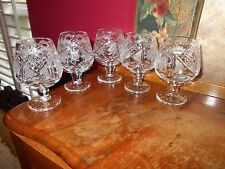 Vintage set of 5 Cut Clear Crystal Brandy Snifter Cordial Liqueur Glasses WOW