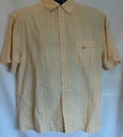 Reel Legends Mens Shirt Size M Yellow White Textured Short Sleeve Vented