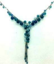 Avon Blue Beaded Necklace Statement Fashion Sliver Plated Jewellery Present Gift