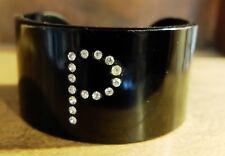 Vintage Celluloid Black Cuff Bracelet with P Initial Rhinestones