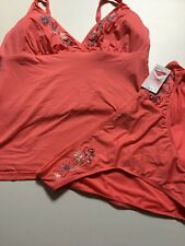 Brand New M&S Embroidered Tankini Swimsuit Coral mix Size 16-18