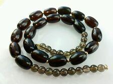 "Smokey Quartz Barrel Stone Necklace 14k Solid Yellow Gold Clasp 18"""