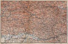 Bayrischerwald. Foresta Bavarese CHAM Passau Böhmerwald Karte. BAEDEKER 1895 carta