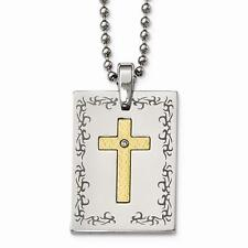 18k Gold & Stainless Steel Polished Laser Etched Square Cross Diamond Necklace